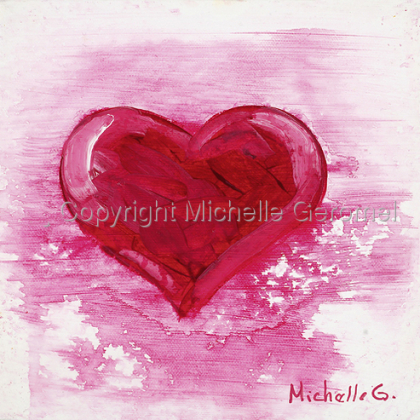 Red Heart, White/Pink Bleed, SOLD