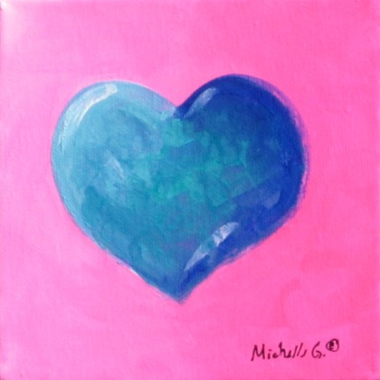 Blue Heart Painting, Pink Background. Gift for Her –  09-20