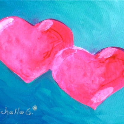 Two Pink Hearts, Small Painting, Gift For Her, 09-51