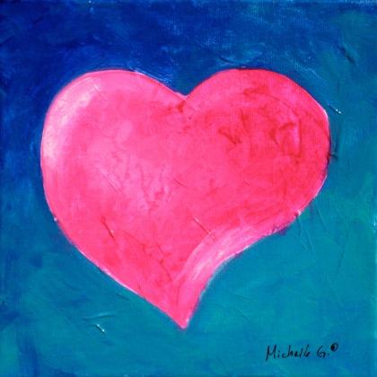 Pink Heart on Aqua 9-04